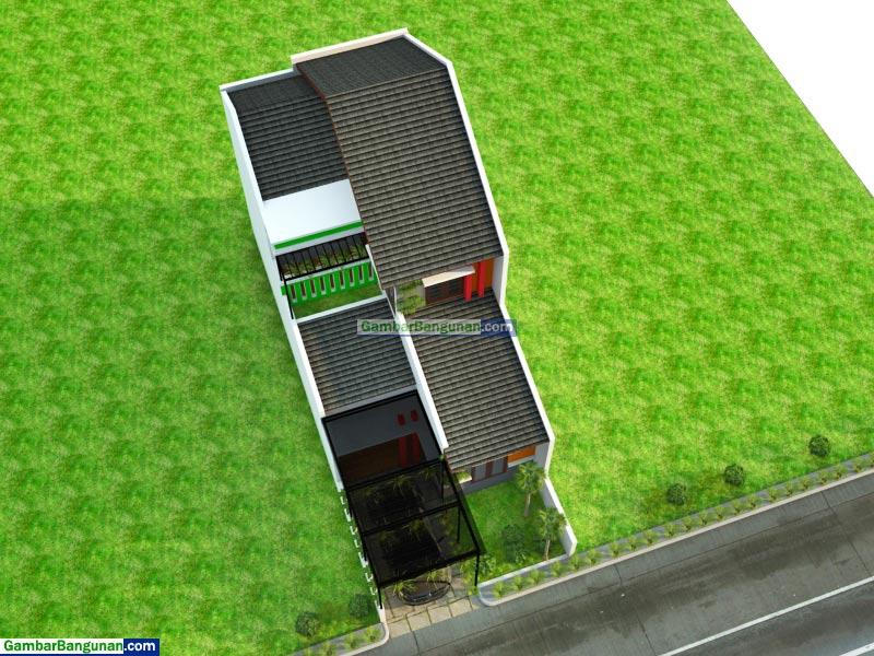 tampak atas rumah minimalis hoby tanaman