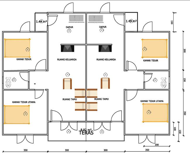 denah interior rumah