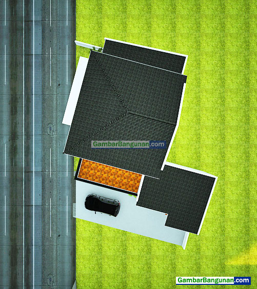 tampak atas rumah 3D sebagian 1 dan 2 lantai