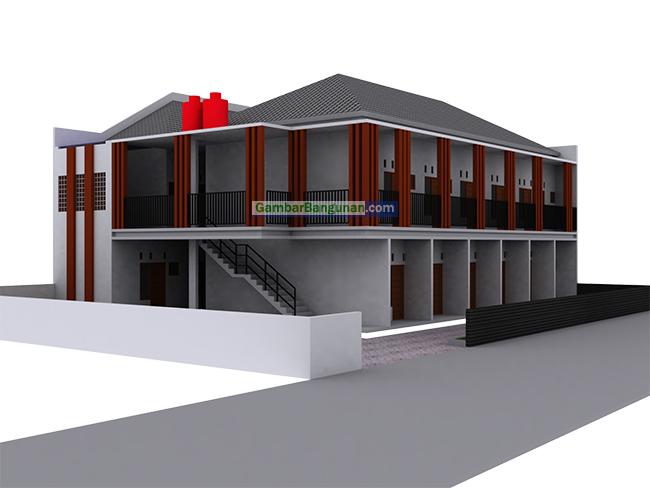 desain tampak samping rumah kost